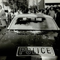 Atlanta Race Relations, Smashed Windshield of Patrol Car after Riot on Capitol Avenue